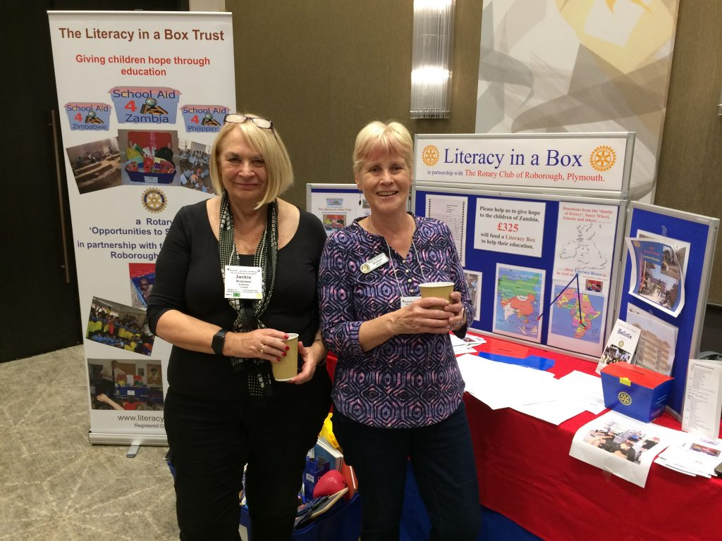 Immediate Past-President Jackie Branson with Shelagh at the stand